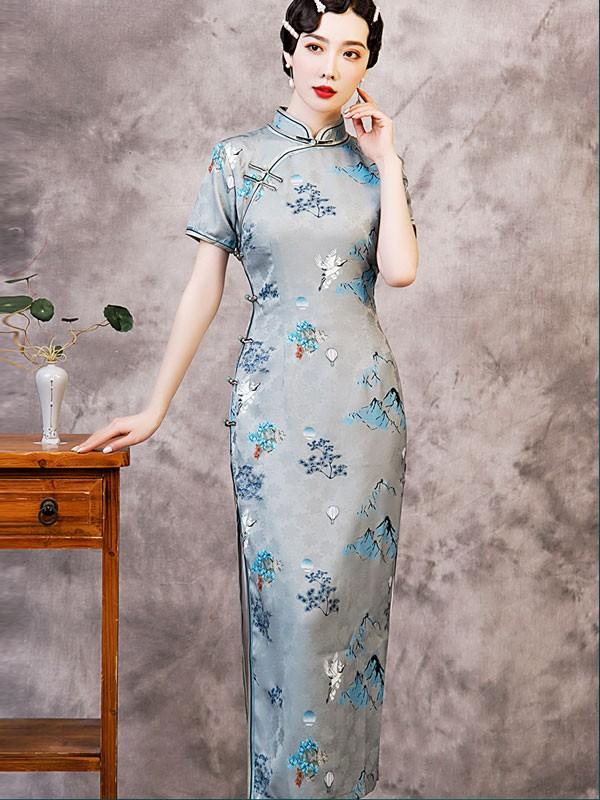 2021 Beige Blue Floral Maxi Qipao / Cheongsam Dress
