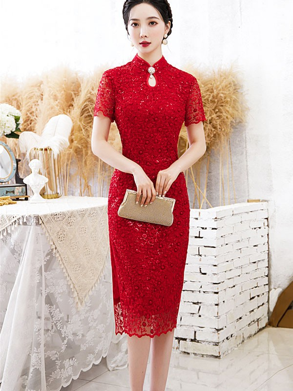 Bridal Mother's Sequined Lace Qipao / Cheongsam Dress