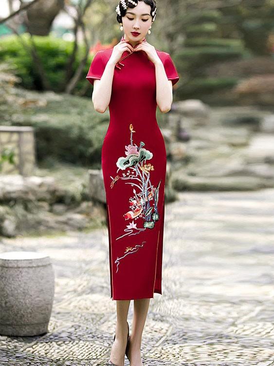 Green Red Embroidered Maxi Qipao / Cheongsam Dress
