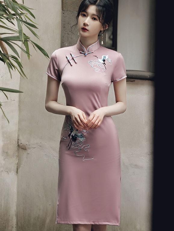 Beige Pink Embroidered Crane Qipao / Cheongsam Party Dress