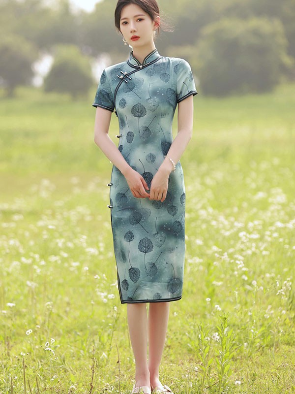 Green Leaf Print Midi Qipao / Cheongsam Dress