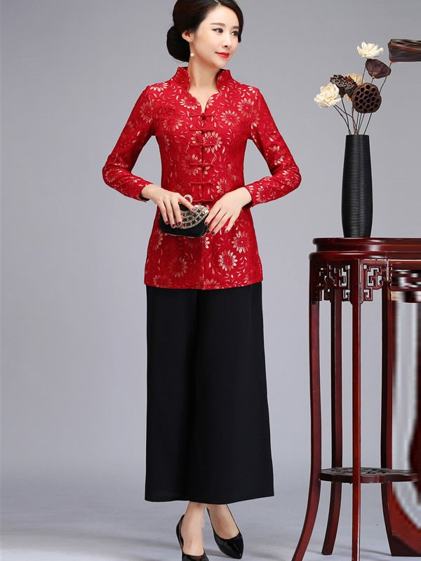 Red Floral Qipao / Cheongsam Top Blouse