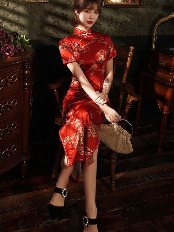 Bronzing Floral Red Ankle-Length Wedding Qipao / Cheongsam Dress