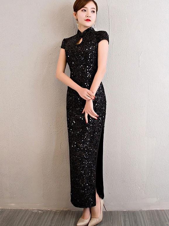 Floor-Length Sequined Lace Qipao / Cheongsam Dress