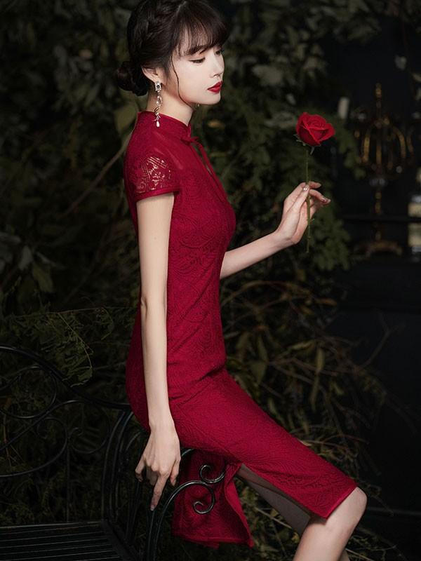 Burgundy Lace Illusion Qipao / Cheongsam Wedding Dress