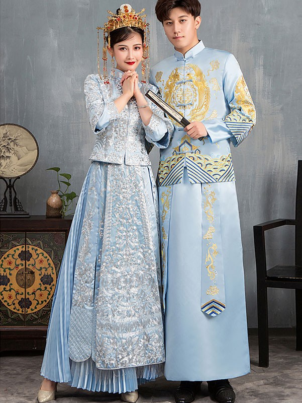 Blue Dragon Embroidered Men's Wedding Tang Suit