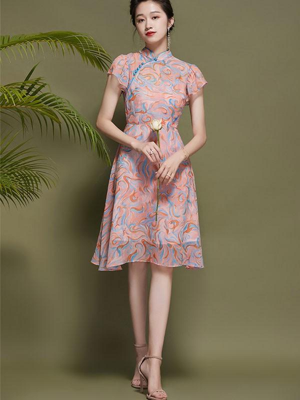 Pink Chiffon Qipao / Cheongsam Dress With Frill Sleeve