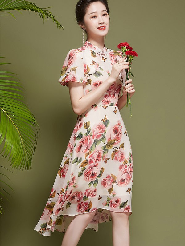 Pink Floral Chiffon Qipao / Cheongsam Dress With High Low Hem