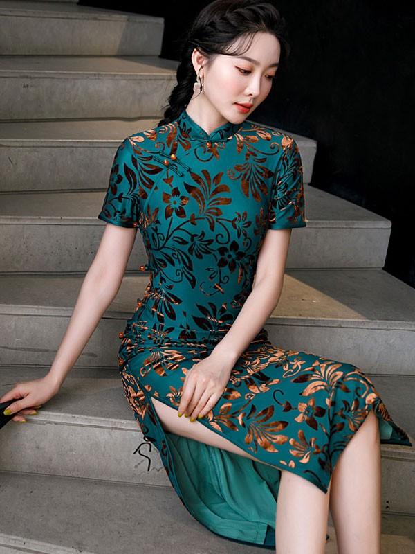 Blue Floral Velvet Maxi Qipao / Cheongsam Dress