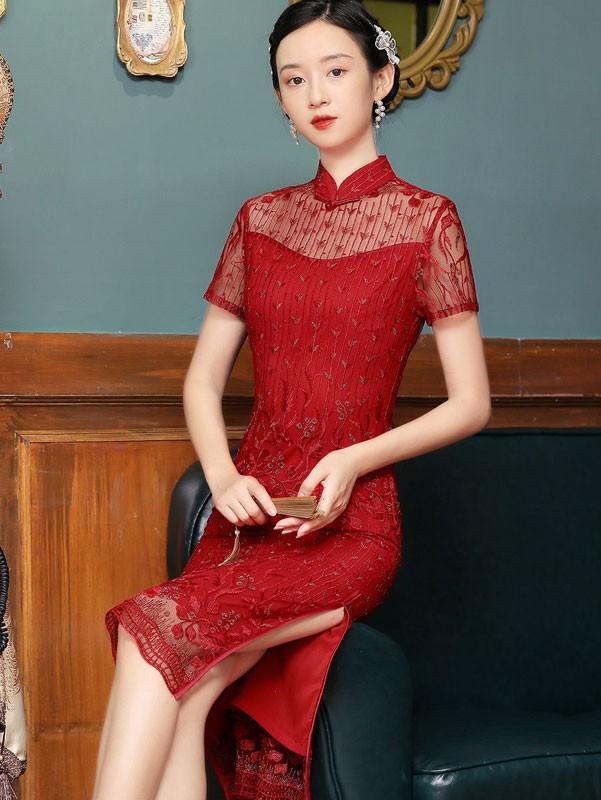 2021 Red Lace Illusion Midi Qipao / Cheongsam Dress