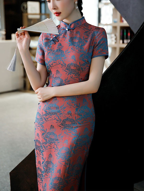 Mothers Red Floral Maxi Qipao / Cheongsam Dress