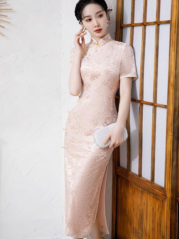 Pink Floral Velvet Maxi Qipao / Cheongsam Dress