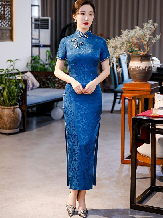 Blue Red Jacquard Maxi Qipao / Cheongsam Dress