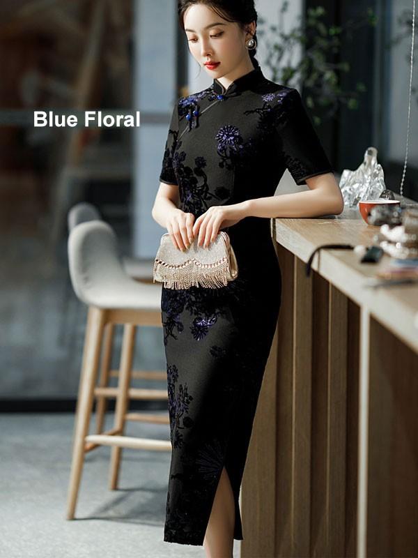 Mothers Red Blue Floral Velvet Maxi Qipao / Cheongsam Dress