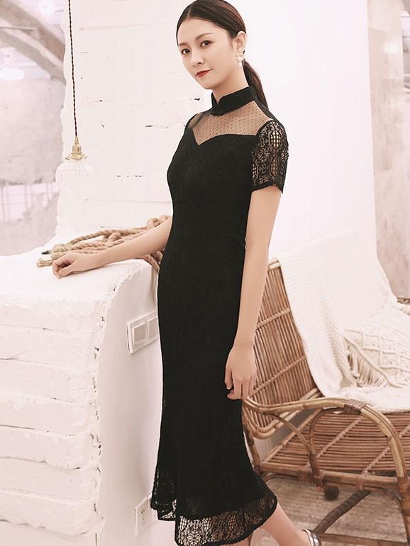 Green Black Fishtail Lace Qipao / Cheongsam Dress