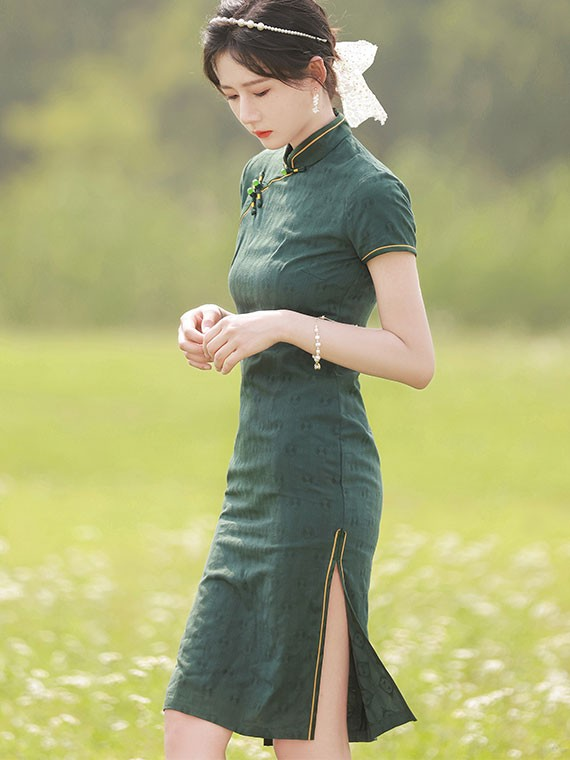 Green Jacquard Midi Qipao / Cheongsam Dress