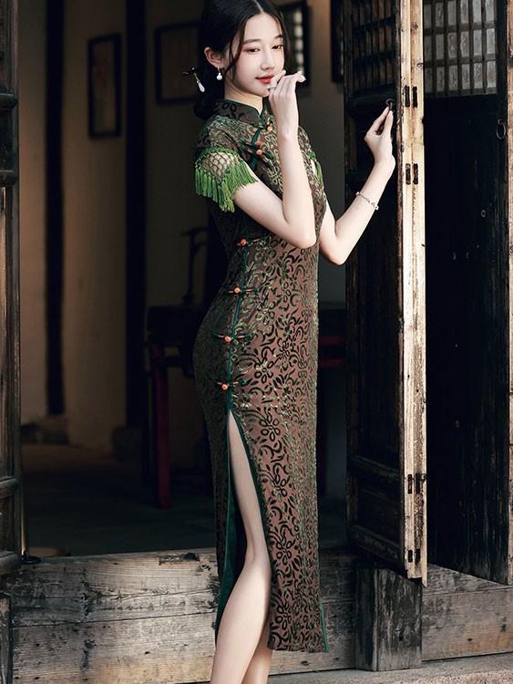 Blue Bronzing Floral Maxi Qipao / Cheongsam Dress