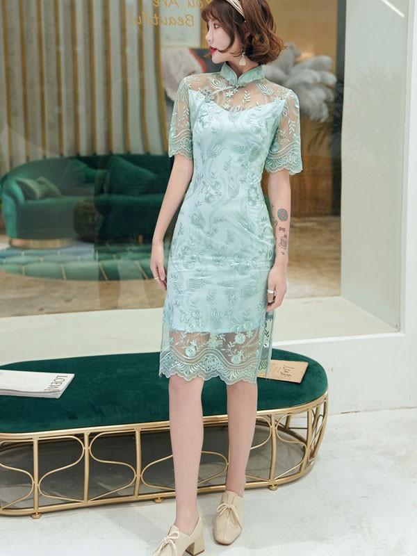 Green Illusion Lace Midi Qipao / Cheongsam Dress