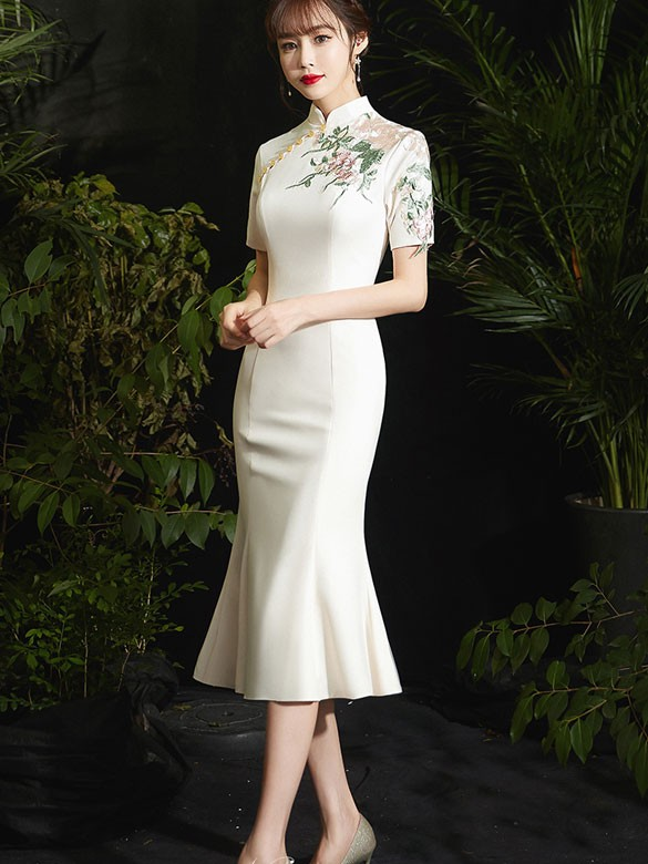 Ivory Fishtail Tea-Length Qipao / Cheongsam Prom Dress