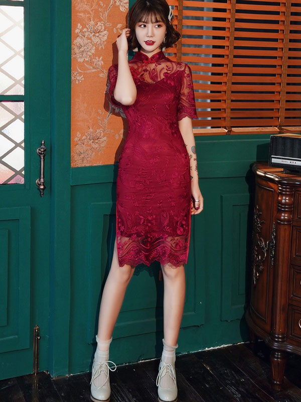 Pink Burgundy Illusion Lace Qipao / Cheongsam Wedding Dress