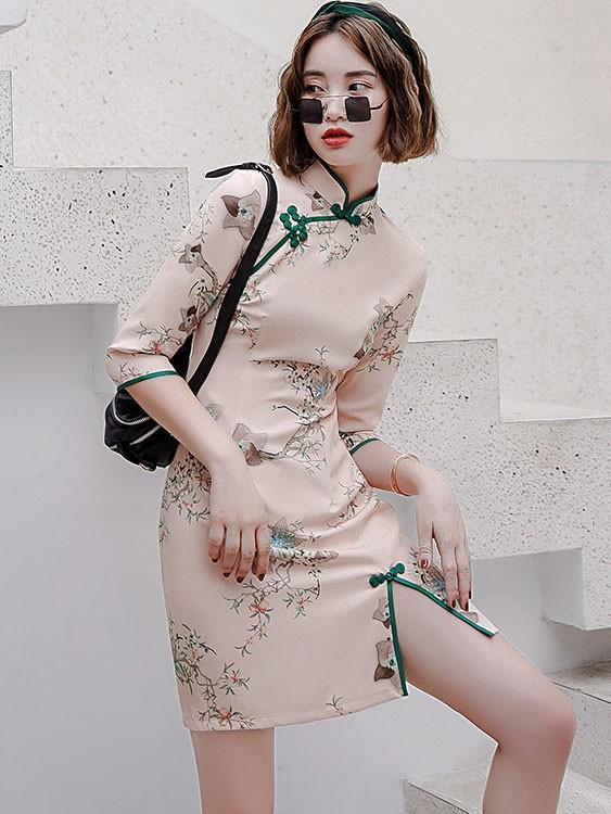 2021 Autumn Floral Pink Qipao / Cheongsam Dress