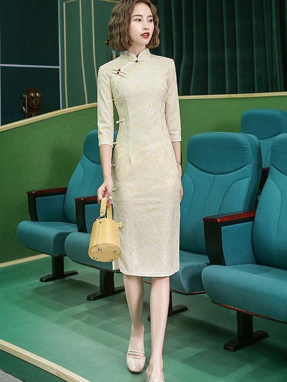 Pink Beige Lace Midi Qipao / Cheongsam Dress
