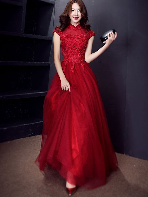 Love Wine Red Tulle Qipao / Cheongsam Evening Dress with Sequins