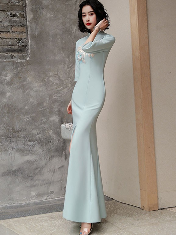 Blue Embroidered Fishtail Split Qipao / Cheongsam Prom Dress