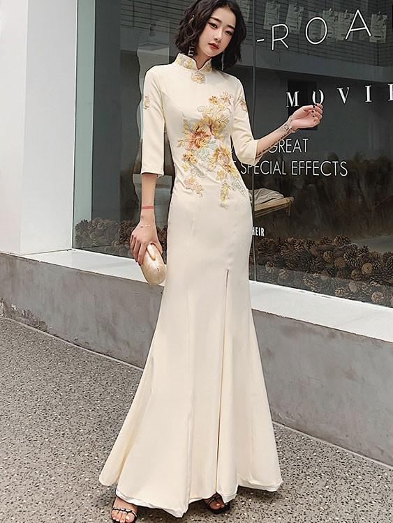 Champagne Embroidered Fishtail Split Qipao / Cheongsam Prom Dress