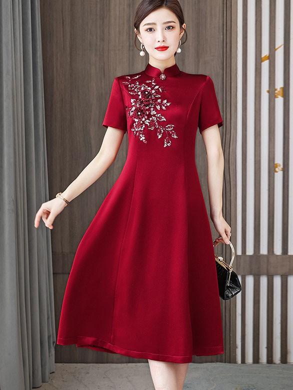 2021 Bridal Mother's Fit & Flare Qipao / Cheongsam Dress