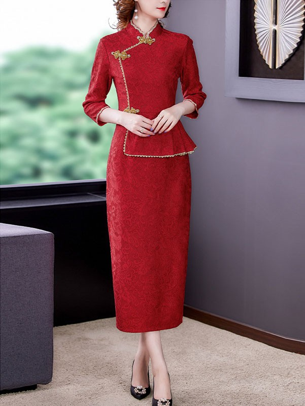 2021 Winter Bridal Mother's Lace Qipao / Cheongsam Dress