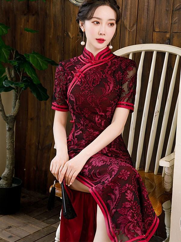 Bridal Mother's Red Floral Velvet Qipao / Cheongsam Dress
