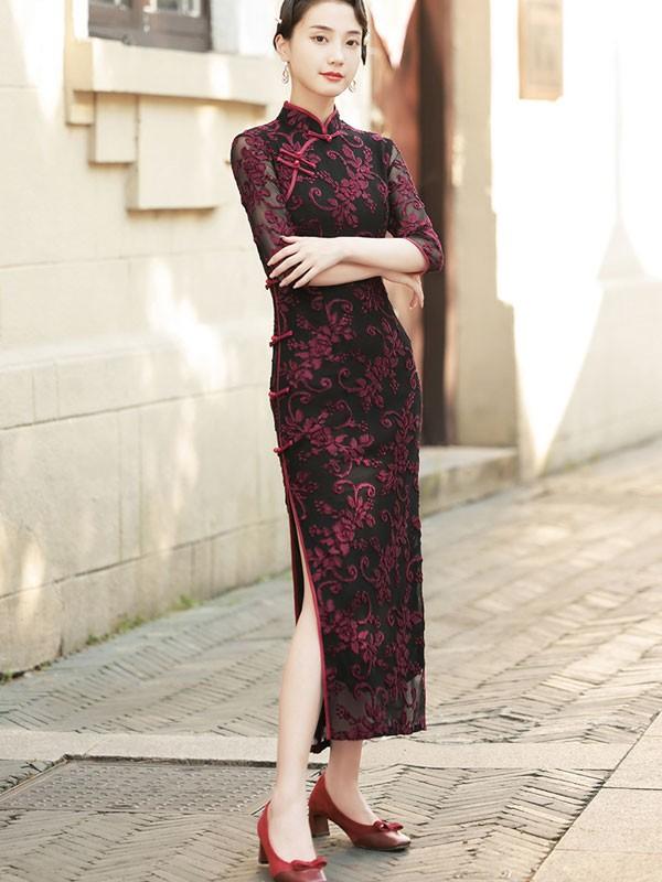 Mother's Red Floral Velvet Qipao / Cheongsam Maxi Dress