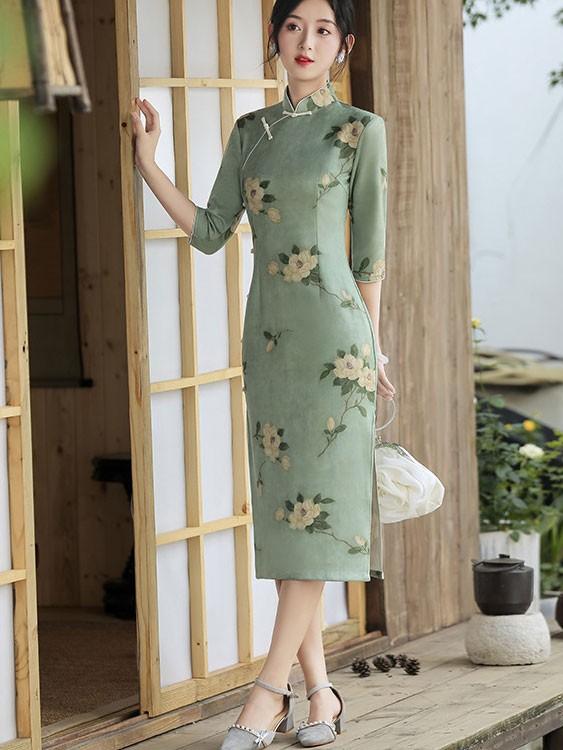 2021 Winter Floral Suede Qipao / Cheongsam Dress