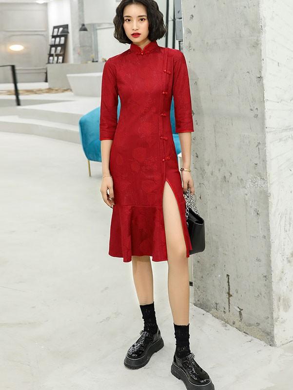 2021 Winter Red Qipao / Cheongsam Dress with Frill Hem