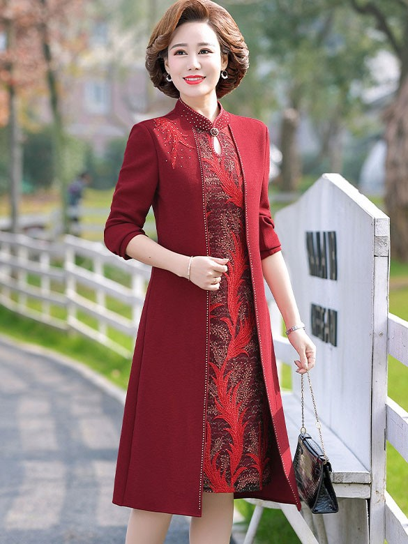 Bridal Mother's Fake Two-Pieces Qipao / Cheongsam Dress