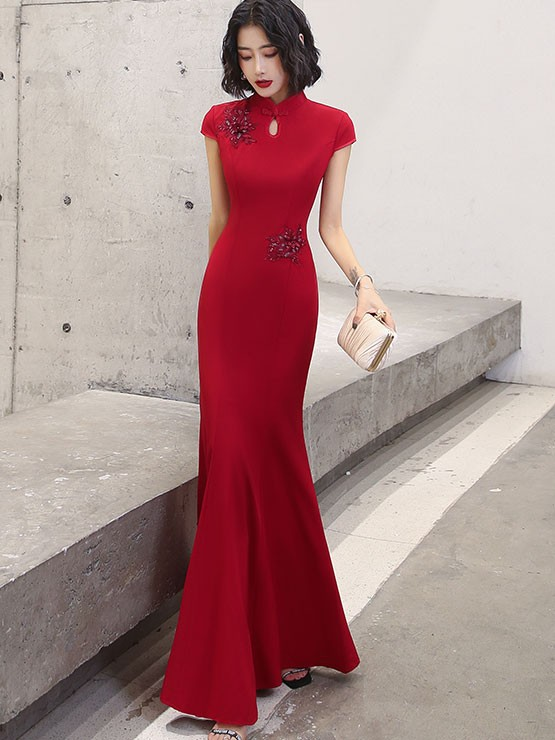 Appliques Fishtail Qipao / Cheongsam Prom Dress