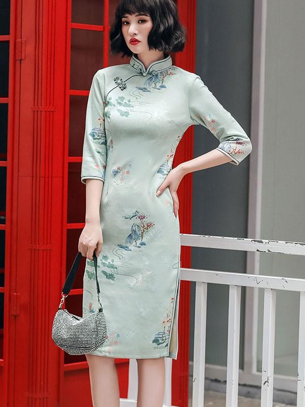 Green Floral Suede Winter Qipao / Cheongsam Dress