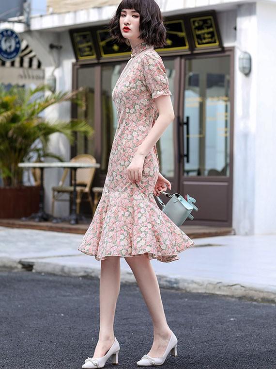 Pink Floral Puff Sleeve Qipao / Cheongsam Dress with Frill Hem