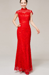 Ankle-length Lace Cheongsam / Qipao / Chinese Wedding / Evening Dress
