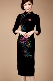 Velour Long Sleeve Qipao / Cheongsam / Chinese Evening Dress