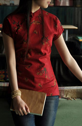 Red Short Sleeve Chinese Qipao / Cheongsam Shirt