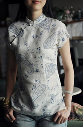 White Floral Short Sleeve Chinese Qipao / Cheongsam Shirt