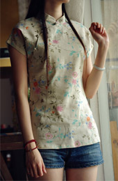 Green Floral Short Sleeve Chinese Qipao / Cheongsam Shirt