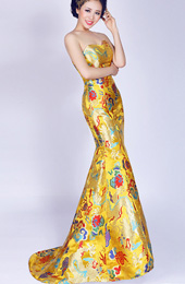 Yellow Fishtail Sweetheart Cheongsam / Qipao / Chinese Wedding / Evening Dress