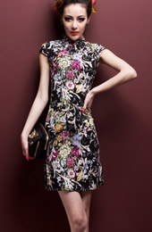 Black Floral Stretchy Cheongsam / Chinese Qipao Dress