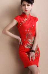 Red Short Phoenix Qipao / Cheongsam / Chinese Wedding Dress