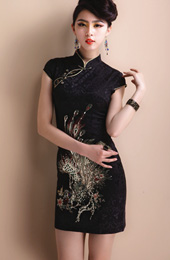 Black Short Phoenix Qipao / Cheongsam / Chinese Wedding Dress