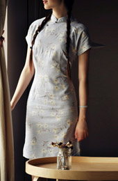 Blue Short Floral Mandarin Collar Cheongsam / Qipao / Chinese Dress