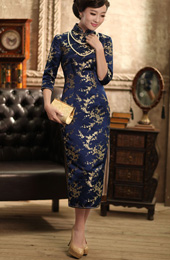 Blue 3/4 Sleeves Mid Floral Silk Qipao / Cheongsam / Chinese Dress for Winter